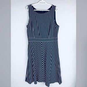 Ann Taylor navy & white striped a-line dress sz 14